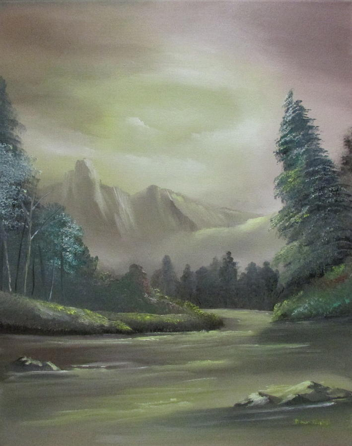 Mountain Painting - Mountain River by Dawn Nickel
