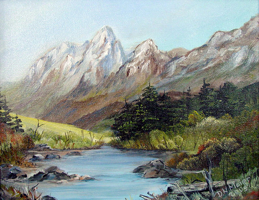 Mountain Painting - Mountain River by Dorothy Maier