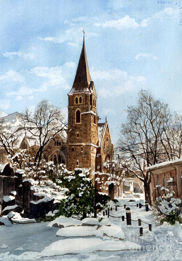 Church Painting - Mountain Sanctuary by Barbara Jewell