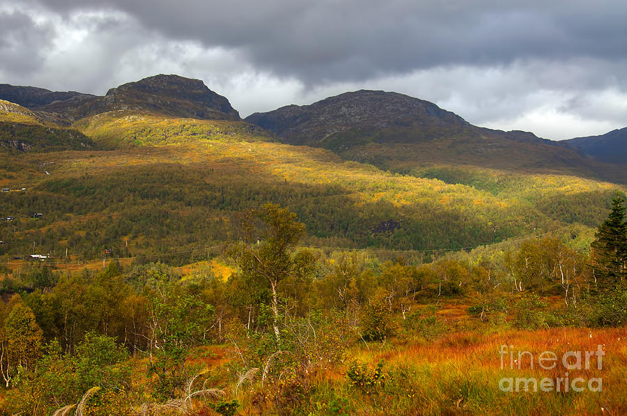Sun Photograph - Mountain Scenery In Fall by Gry Thunes
