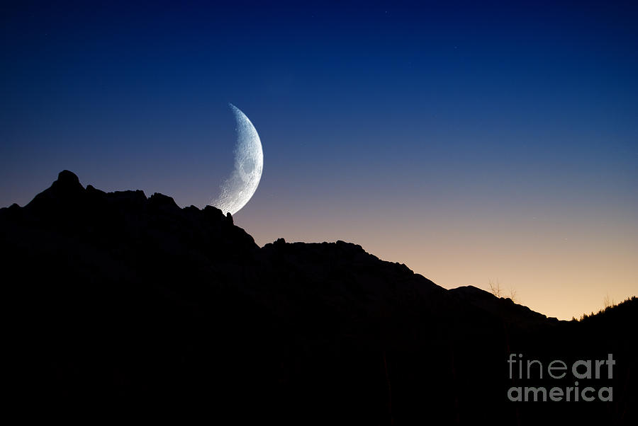 Mountain Silhouette With Rising Moon Photograph
