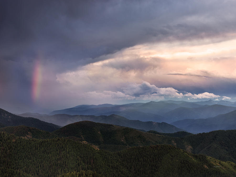 Altitude Photograph - Mountain Storm And Rainbow by Leland D Howard