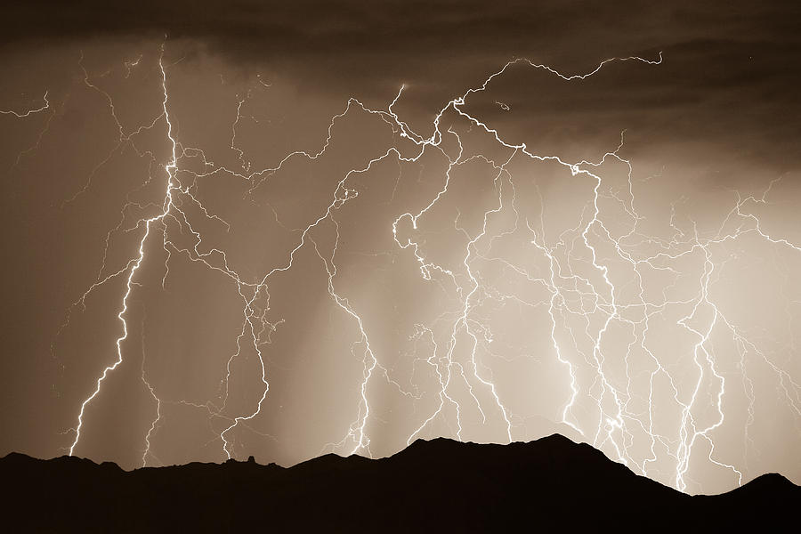 Lightning Photograph - Mountain Storm - Sepia Print by James BO Insogna