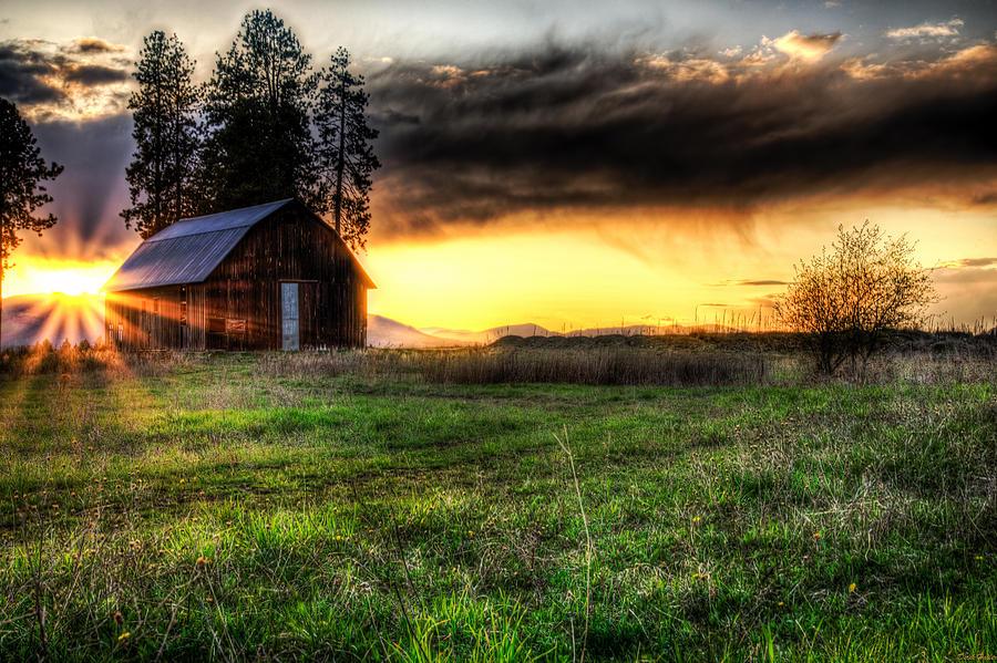 Barn Photograph - Mountain Sun Behind Barn by Derek Haller