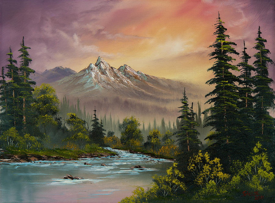 Landscape Painting - Mountain Sunset by Chris Steele