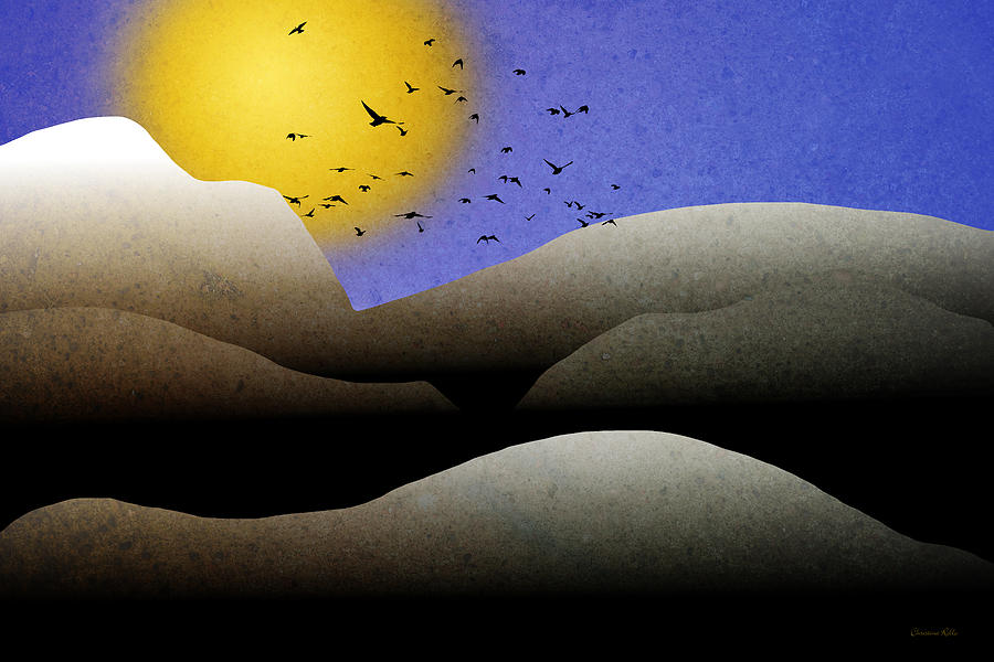 Mountain Mixed Media - Mountain Sunset Landscape Art by Christina Rollo