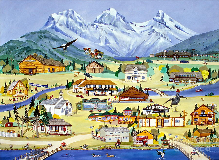 Canmore Painting - Mountain Town Of Canmore by Virginia Ann Hemingson