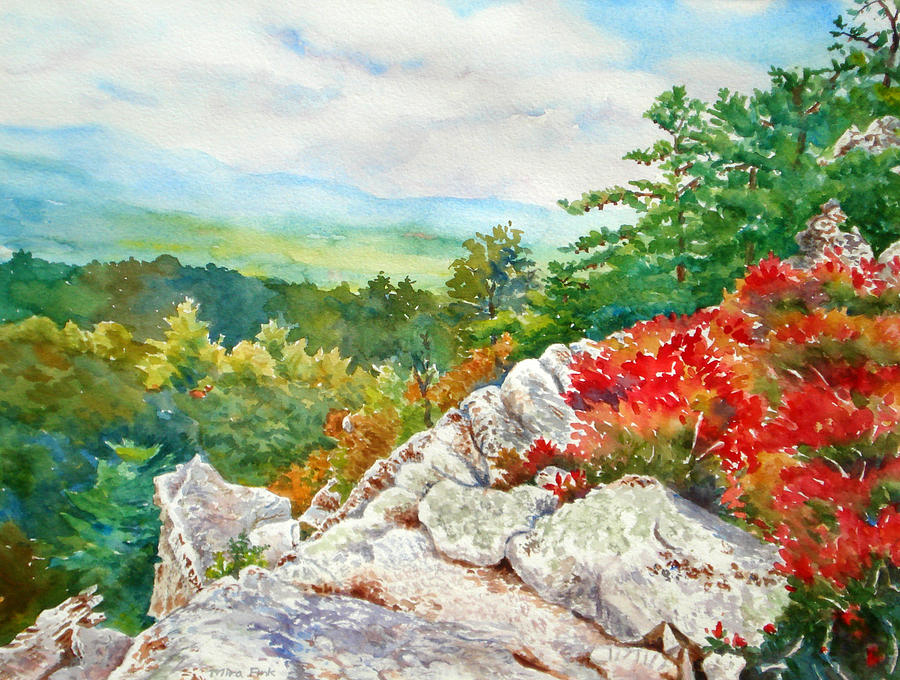 Rock Painting - Mountain View From Rocky Cliff With Fall Colors by Mira Fink