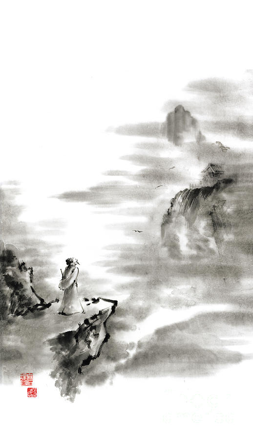 Sumi E Painting - Mountain View Poet In Mountain Haiku Sky Snow And Clouds Landscape Sumi-e Original Ink Painting by Mariusz Szmerdt