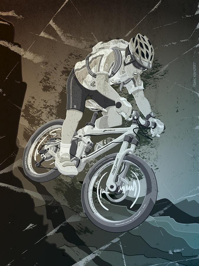 Cycling Digital Art - Mountainbike Sports Action Grunge Monochrome by Frank Ramspott