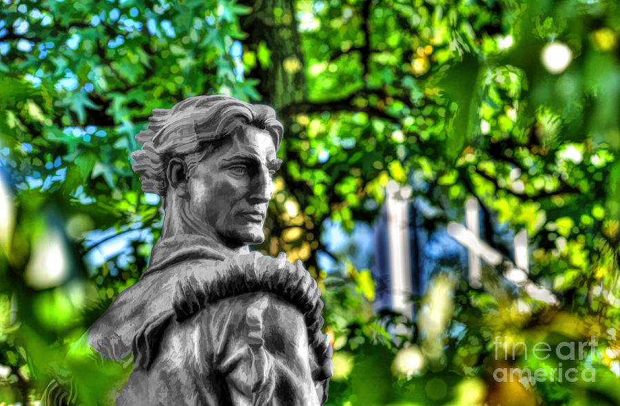 West Virginia University Photograph - Mountaineer Statue In Trees by Dan Friend