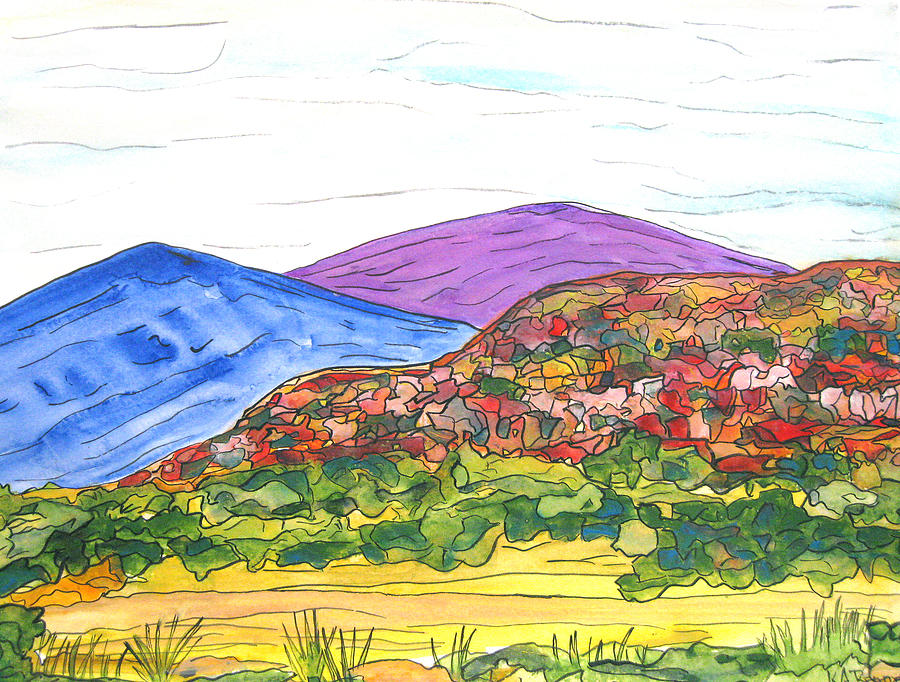 Watercolor Landscape Painting - Mountains And South Mesa by Kerry Bennett