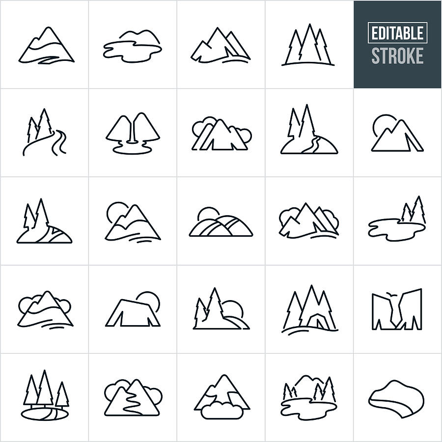 Mountains and Trees Thin Line Icons - Editable Stroke Drawing by Appleuzr