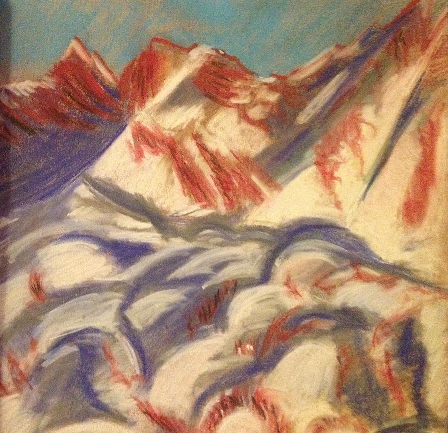 Mountain Drawing - Mountains At Sunset by Elena Svobodina