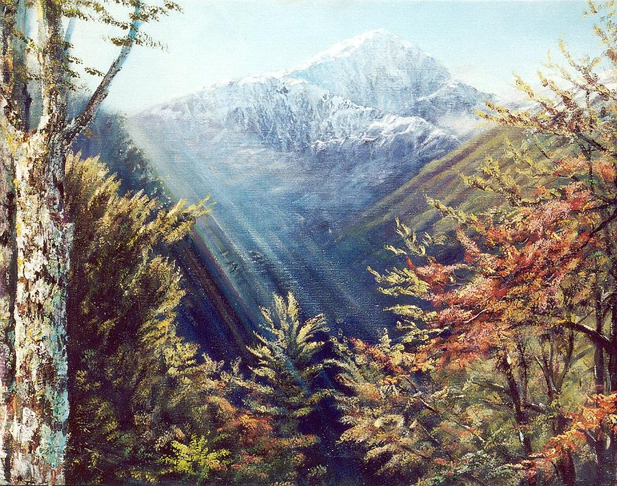 Nz Mountains Painting - Mountains In The Mist by Peter Jean Caley
