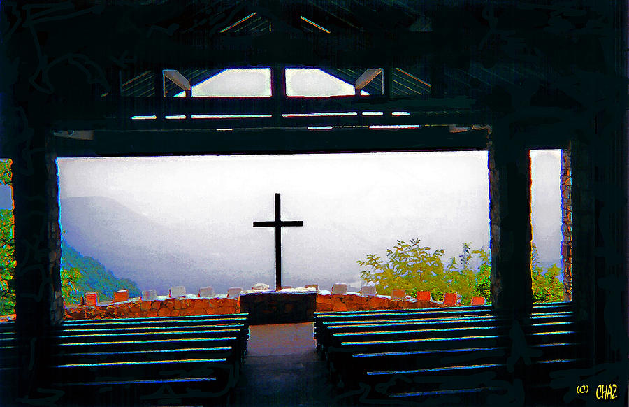 Mountains Painting - Mountaintop Chapel  by CHAZ Daugherty