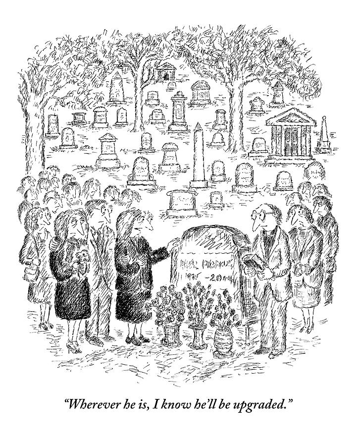 Mourners Stand Around A Gravestone Drawing by Edward Koren