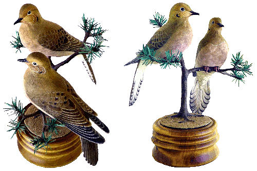 Birds Sculpture - Mourning Doves by Peter Vaice