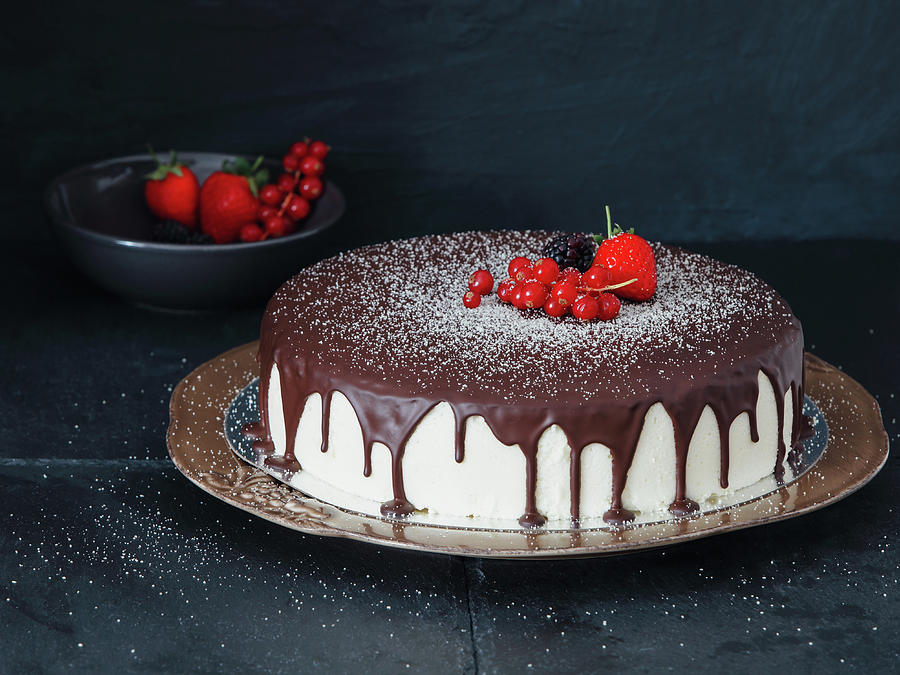 Mousse Cake With Chocolate Icing And Photograph by Eugene Mymrin