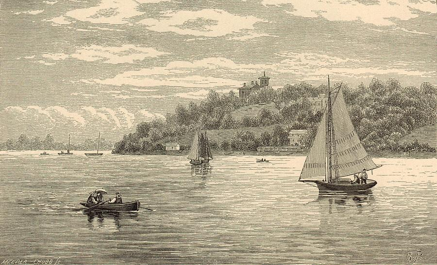 Vintage Painting - Mouth Of The Shrewsbury River 1872 Engraving by Antique Engravings