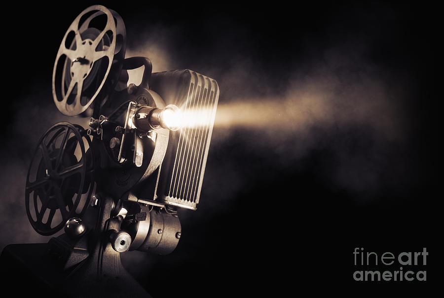 Studio Photograph - Movie Projector On A Dark Background by Fer Gregory