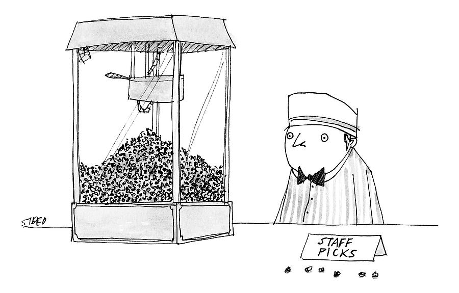 Movie Theater Attendant Selling Popcorn Drawing by Edward Steed