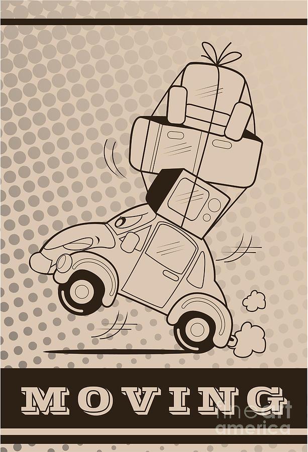 Symbol Digital Art - Moving Car by Fun Way Illustration