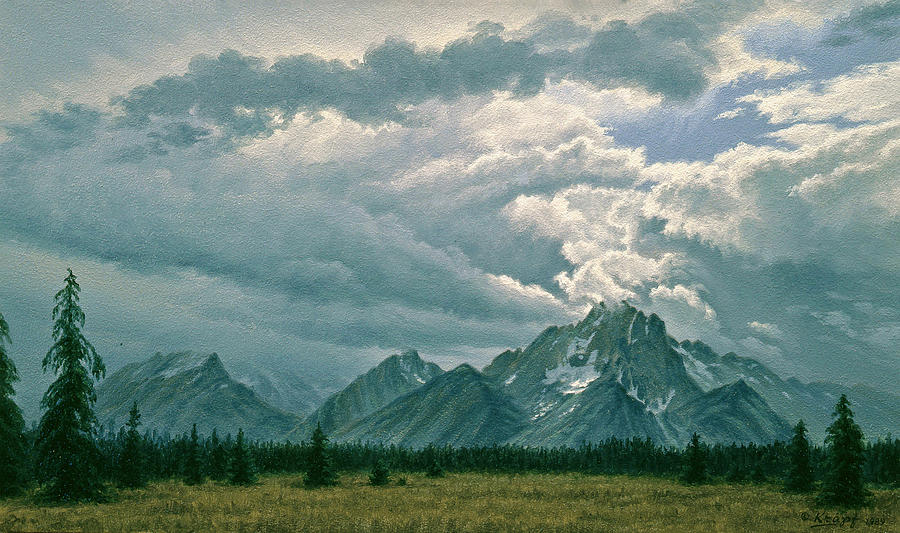 Landscape Painting - Moving Clouds-mount Moran by Paul Krapf