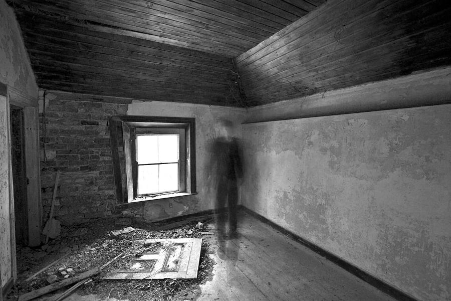 Black White Inferred Long Exposure Movement Derelict Abandoned Ireland Irish Ghost Light Window Door Bricks Self Portrait    Photograph - Moving Forward by David Hollinger