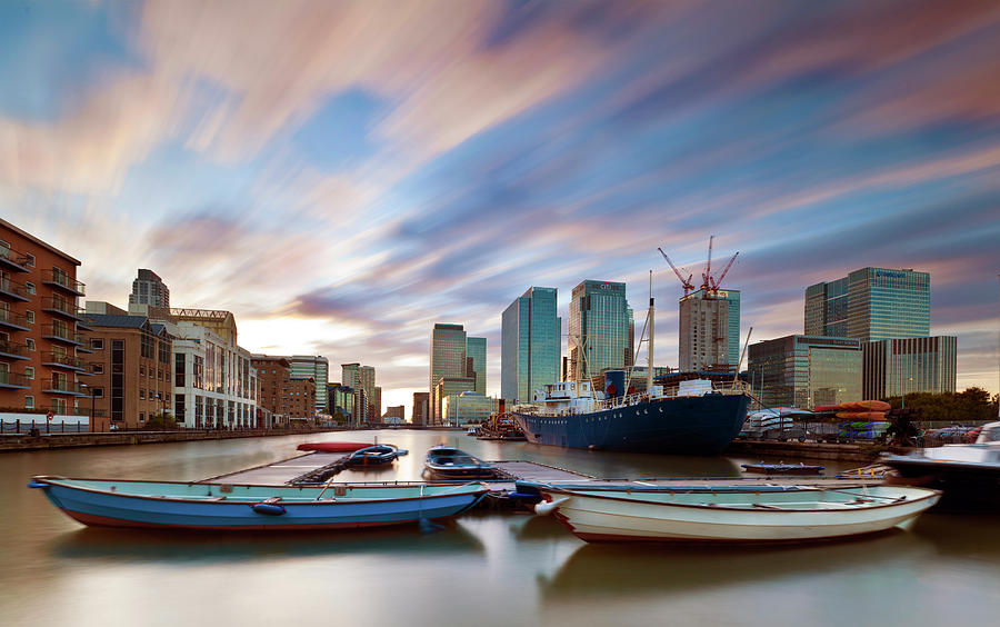 Moving Skies At Canary Wharf Photograph by Esslingerphoto.com