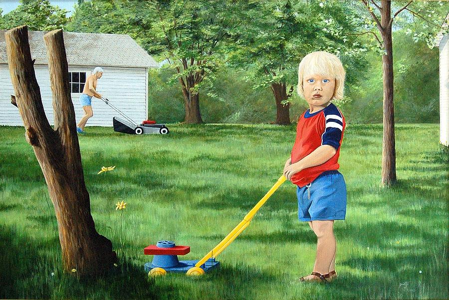 Figures Painting - Mowing by AnnaJo Vahle