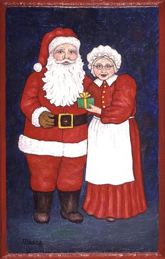 Holidays Painting - Mr and Mrs Claus by Linda Mears