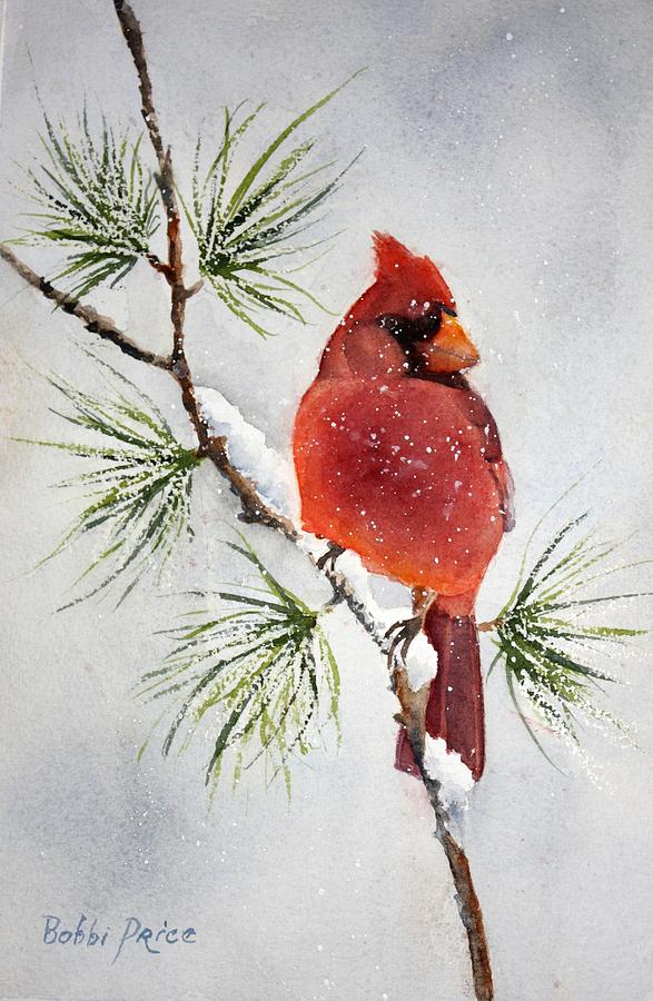 Mr cardinal painting by bobbi price Christmas card scenes to paint