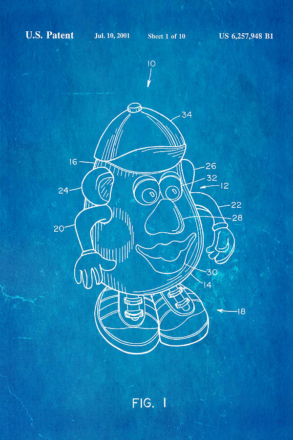 Mr Potato Head Patent Art 2001 Blueprint Photograph By Ian Monk