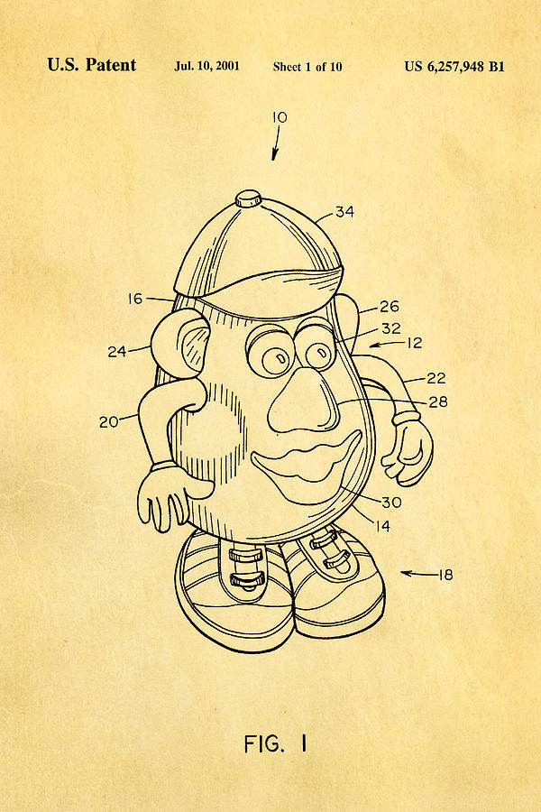 Famous Photograph - Mr Potato Head Patent Art 2001 by Ian Monk