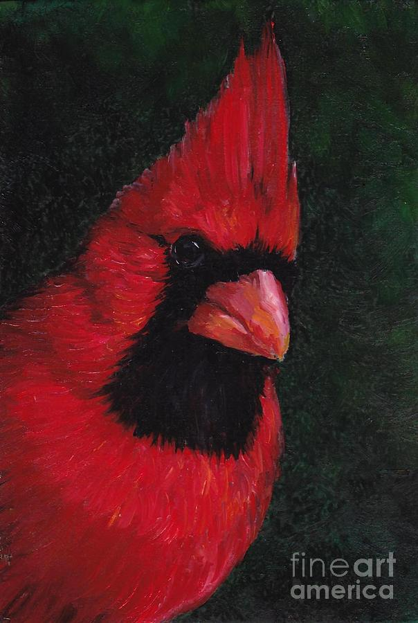 Bird Painting - Mr Red Cardinal by Charlotte Yealey