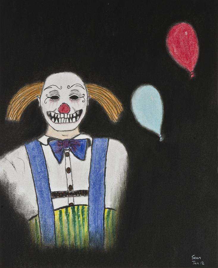 Clown Drawing - Mr. Wiggles by Sean Mitchell
