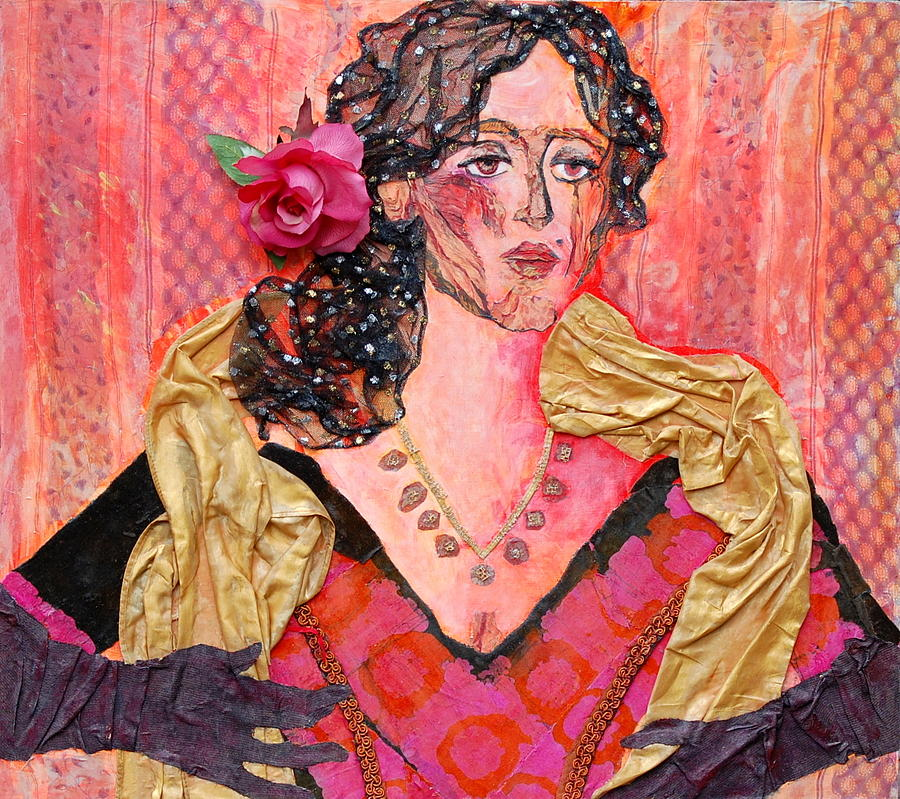 Flower In Hair Mixed Media - Mrs. Dedlocke by Diane Fine