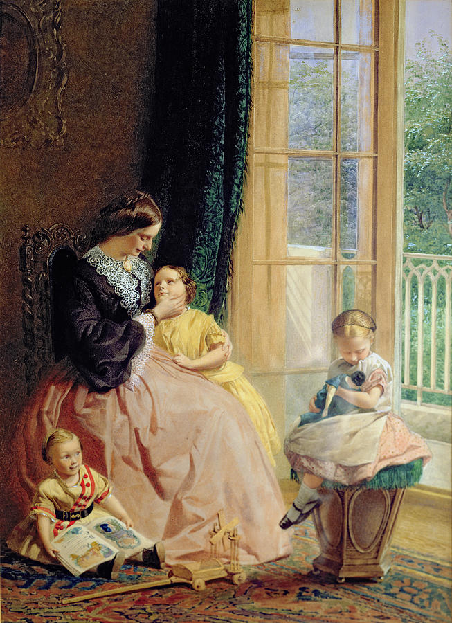 Family Group Painting - Mrs Hicks Mary Rosa And Elgar by George Elgar Hicks