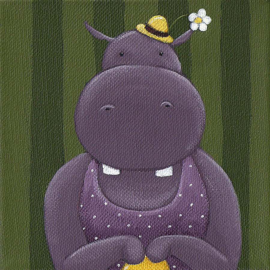 Hippo Painting - Mrs. Hippo by Christy Beckwith