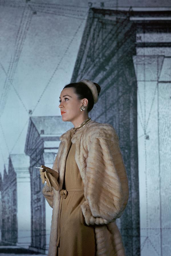 Mrs. Hugh Chisholm Wearing A Fur Coat Photograph by John Rawlings