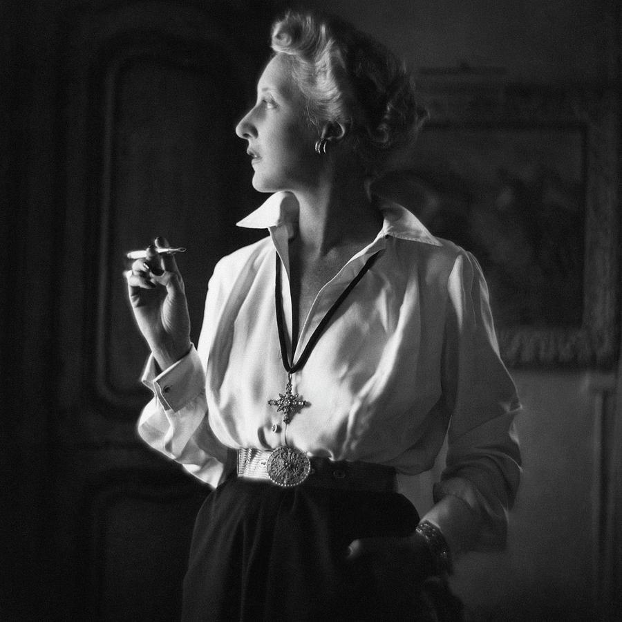 Mrs. John Rawlings Smoking Photograph by Frances McLaughlin-Gill