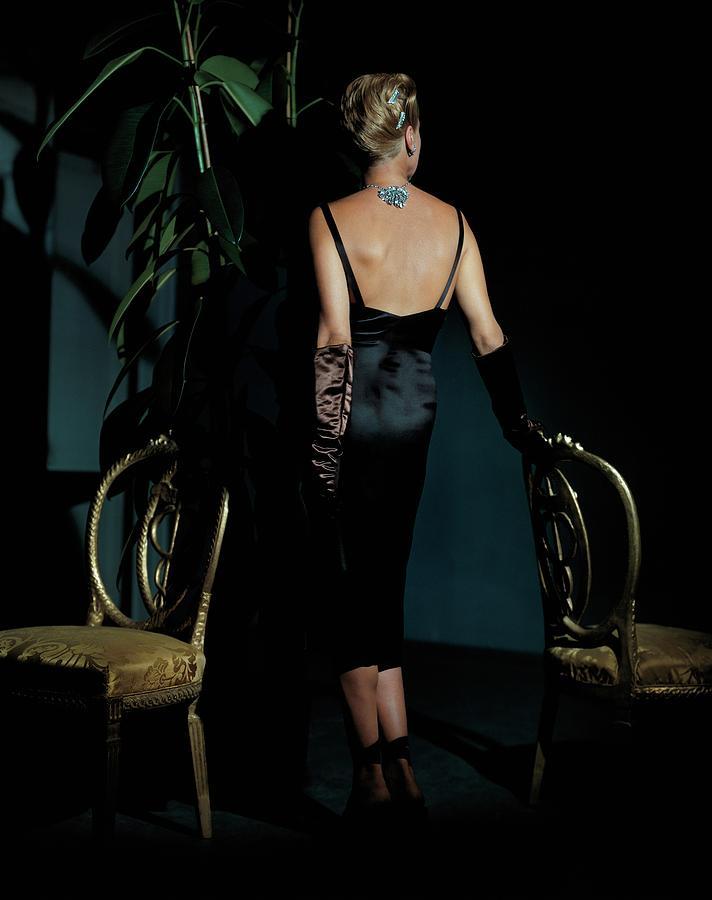 Personality Photograph - Mrs. John Rawlings Wearing A Diamond Necklace by John Rawlings