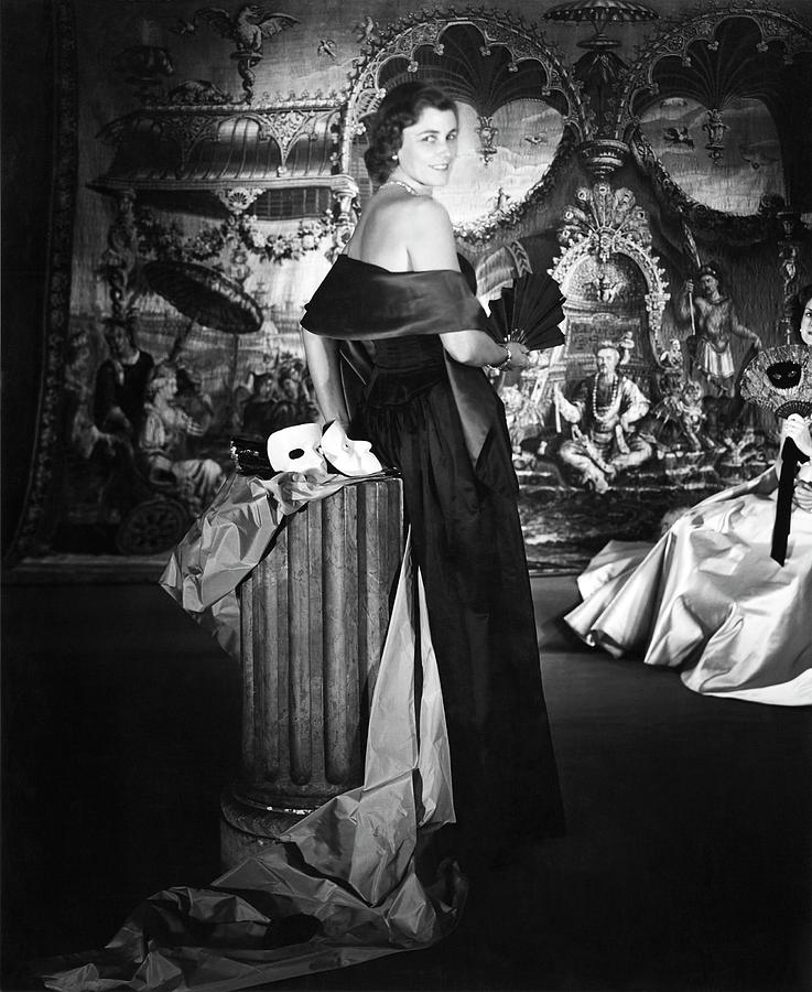 Mrs. John T. Pratt Jr. Wearing A Satin Dress Photograph by Horst P. Horst