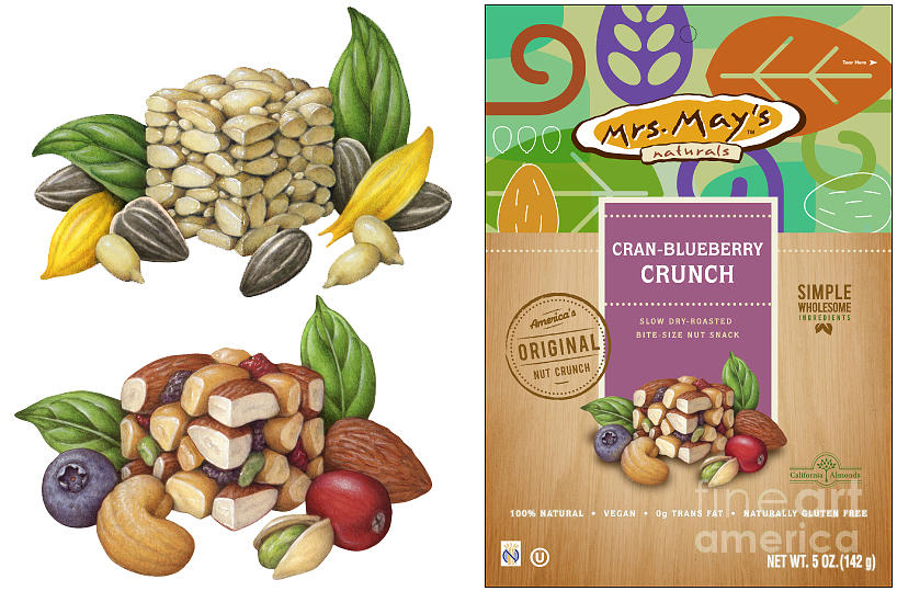 Food Painting - Mrs. Mays Crunch Snack Food Illustrations by Douglas Schneider