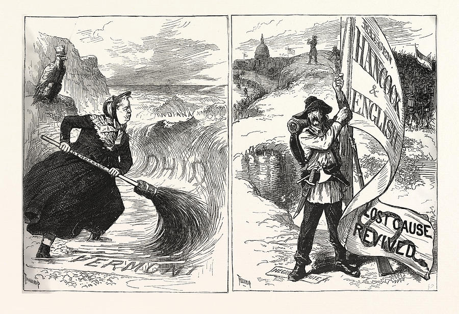 Mrs. Drawing - Mrs. Partington Struggling With The Republican Tide by American School