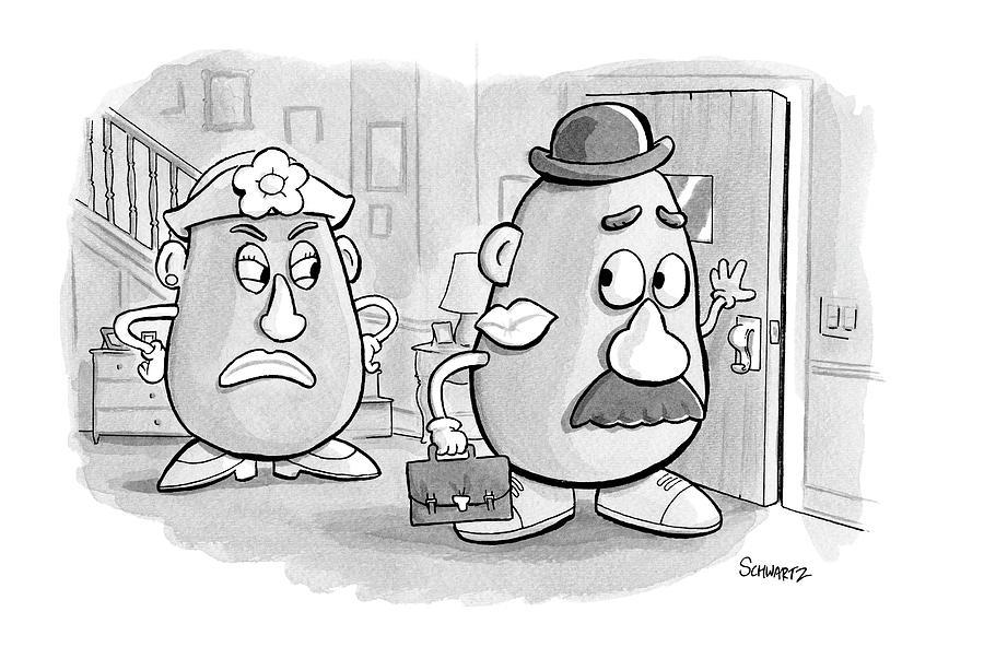 Mrs. Potato Head Casts A Dirty Look Drawing by Benjamin Schwartz