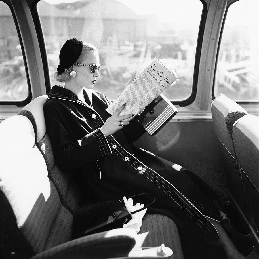 Mrs. William McManus Reading On A Train Photograph by Leombruno-Bodi