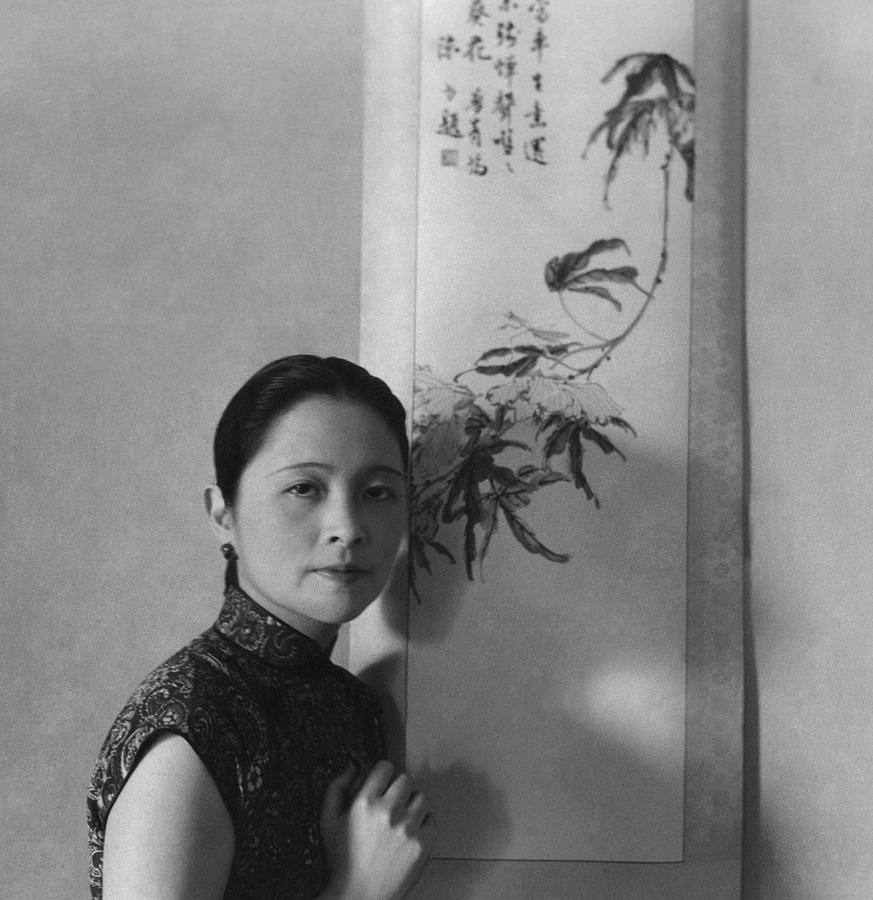 Mrs. Wu Kuo-cheng Posing By Calligraphy Art Photograph by Cecil Beaton