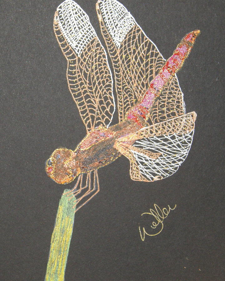 Dragonfly Painting - Ms Pinky by Marcia Weller-Wenbert